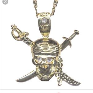 Pirates skull sword long necklace thick chain silv